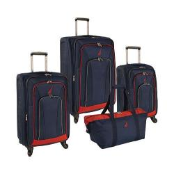 Nautica Timoneer 4 Piece Luggage Set Navy/Chili Pepper Red