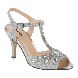 Women's Pink Paradox London Morgan T-Strap Sandal Silver Glitter/Mesh