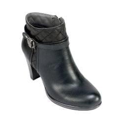 Women's Rialto Popcorn Ankle Bootie Black Burnished Smooth Synthetic
