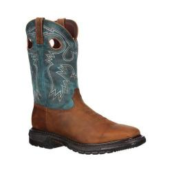 Men's Rocky 11in Western Original Ride Square Toe RKYW036 Aztec Crazy Horse/Big Sky Blue