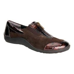 Women's Ros Hommerson Nadia Walking Shoe Dark Brown Kid Suede/Brown Croc Patent