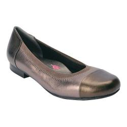 Women's Ros Hommerson Rebecca Cap Toe Flat Pewter Leather/Patent Leather