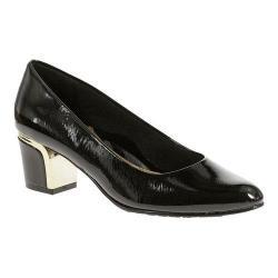 Women's Soft Style Deanna Slip On Black Cross Hatch Patent/Silver Heel