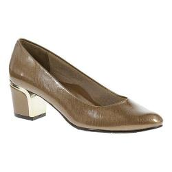 Women's Soft Style Deanna Slip On Gold Cross Hatch Patent/Gold Heel
