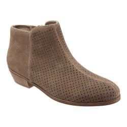 Women's SoftWalk Rocklin Perforated Ankle Boot Dark Nude Punch Out Cow Suede Leather