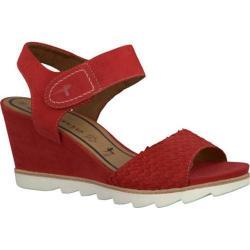 Women's Tamaris Alis Wedge Sandal Chili Leather