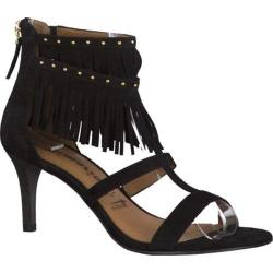 Women's Tamaris Giorgia Fringe Sandal Black Suede Leather