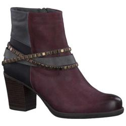 Women's Tamaris Tora Studded Ankle Boot Bordeaux Combination Leather/Synthetic