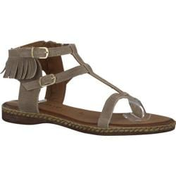 Women's Tamaris Weave Sandal Linen Suede Leather