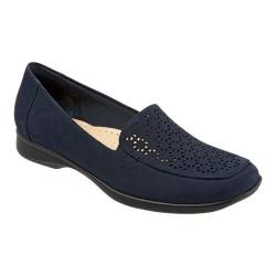 Women's Trotters Jenn Laser Slip On Navy Nubuck Leather Laser Cut