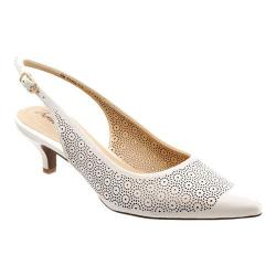 Women's Trotters Prima Off White Soft Nappa Leather Laser Cut