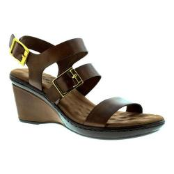 Women's Walking Cradles Lean Wedge Sandal Luggage Nappa Leather
