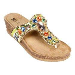 Women's White Mountain Bashful Pastel Suede/Multi Beading