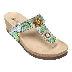 Women's White Mountain Bluejay Beige Leather/Multi Beading