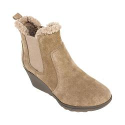 Women's White Mountain Kickoff Wedge Heel Chelsea Boot Taupe Suede