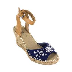 Women's White Mountain Lavish Ankle Strap Wedge Sandal Navy Fabric