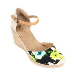 Women's White Mountain Mamba Black Floral Canvas
