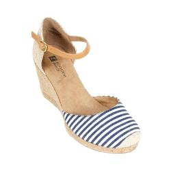 Women's White Mountain Mamba Navy White Striped Canvas