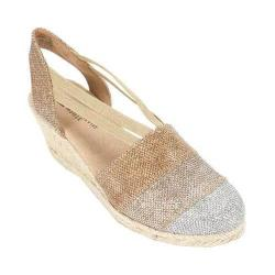 Women's White Mountain Supreme Closed Toe Sandal Bronze Glitter Fabric