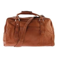 Piel Leather Large Top-Zip Duffel Bag 3078 Saddle