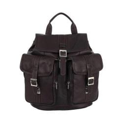 Piel Leather Medium Drawstring Backpack With Two Front Pockets Chocolate