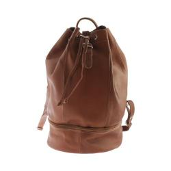 Piel Leather Navy Drawstring Backpack 3054 Saddle