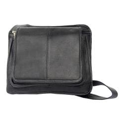 Piel Leather Slim Line Flap Over Bag 2005 Black Leather