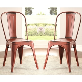 Vintage Distressed Rustic Red Metal Dining Chairs (Set of 4)