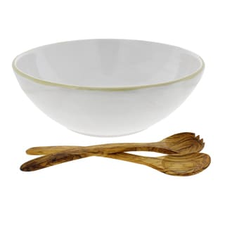 French Home 13.5 inch White Stoneware Serving Bowl and 14 inch Olive-Wood Salad Servers