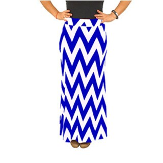 Fold over Waist Full Length Blue White Chevron Maxi Skirt