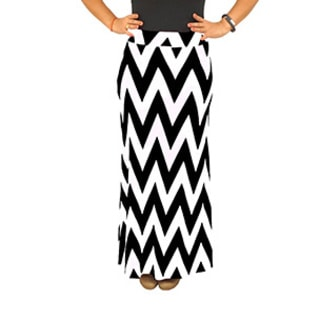 Fold over Waist Full Length Black White Chevron Maxi Skirt