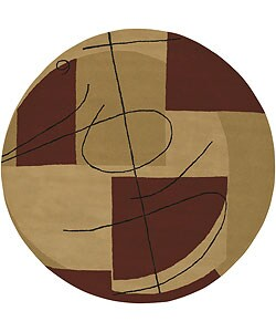 Hand-tufted Beige Contemporary Miro New Zealand Wool Abstract Rug (7'9 Round)