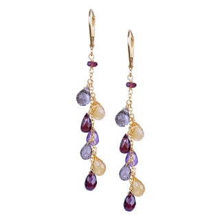 14k Yellow Gold Multi-gem Briolette Drop Earrings