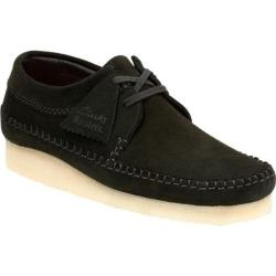 Men's Clarks Weaver Moc Toe Shoe Black Suede