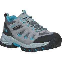 Women's Propet Ridge Walker Low Hiking Shoe Light Grey Turquoise Suede/Mesh