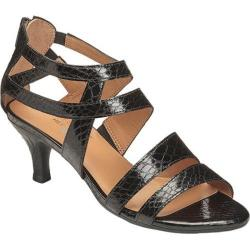 Women's Aerosoles Masquerade Strappy Sandal Black Snake Faux Leather