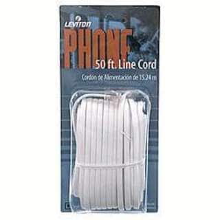 Leviton 838-C2413-50W 50' White Phone Line Cord