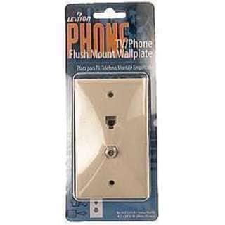 Leviton 831-C2450-I Single Gang Ivory TV/Phone Flush Mount Wallplates