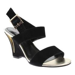 Women's Stefani Ellen Wedge Sandal Black Suede