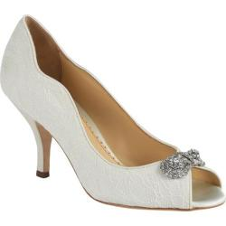 Women's Benjamin Adams London Dakota Peep-Toe Pump Ivory Duchesse Silk/Lace