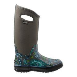 Women's Bogs Classic Winter Blooms Pull On Waterproof Boot Gray Multi
