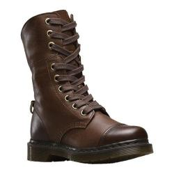 Women's Dr. Martens Aimilita 9-Eye Toe Cap Boot Dark Brown Darkened Mirage