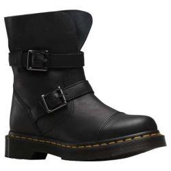 Women's Dr. Martens Kristy 2 Strap Slouch Rigger Boot Black Virginia/Darken Suede