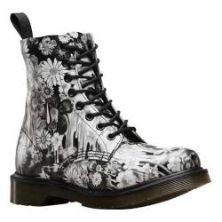 Women's Dr. Martens Slime Floral Pascal 8-Eye Boot Black Paint Slick Backhand
