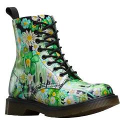 Women's Dr. Martens Slime Floral Pascal 8-Eye Boot Green Paint Slick Backhand