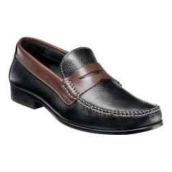 Men's Florsheim Felix Two-Tone Penny Loafer Black Milled/Brown Smooth Leather