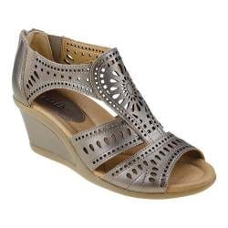 Women's Earth Crown Wedge Sandal Platinum Metallic Soft Calf Leather