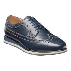Men's Florsheim Flux Wing Tip Oxford Navy Milled Leather