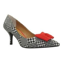 Women's J. Renee Camley Pump Black/White/Red Houndstooth Fabric/Grosgrain
