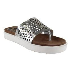 Women's J. Renee Sarabi Flatform Thong Silver Nappa Leather